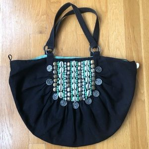 Oasis canvas handbag with coin and bead detail
